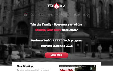 Screenshot of Home Page startupwiseguys.com - Startup Wise Guys - captured Sept. 17, 2014
