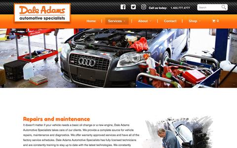 Screenshot of Services Page daleadams.com - Maintenance and repairs - Dale Adams Automotive - captured Oct. 12, 2017