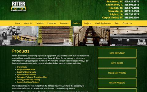 Screenshot of Products Page ritterforest.com - Past Projects: Hardwood Crane Mats & Laminated Mats from Ritter Forest Products - captured Nov. 16, 2017