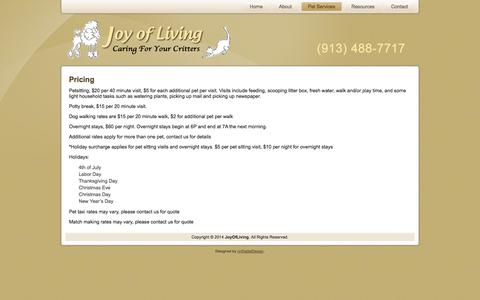 Screenshot of Pricing Page myjoyofliving.com - Pricing | My Joy Of Living - captured Oct. 1, 2014