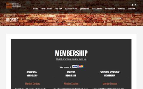 Screenshot of Signup Page masonrycontractors.com.au - Register - Masonry Contractors Association of NSW & ACT - captured Oct. 27, 2014