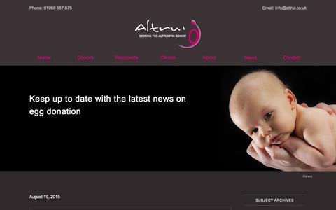 Screenshot of Press Page altrui.co.uk - Altrui's news about egg donation in the UK | Altrui Egg Donation - captured Jan. 27, 2016