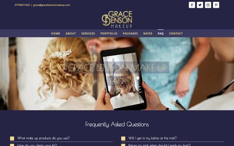 Screenshot of FAQ Page gracebensonmakeup.com - Grace Benson Makeup   Wedding Makeup   Freelance Makeup Artist   Hair Stylist   Hastings   East Sussex   Kent   FAQ - captured May 22, 2017