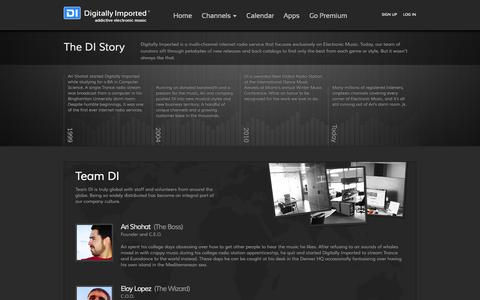 Screenshot of About Page di.fm - Digitally Imported - addictive electronic music - captured Sept. 18, 2014