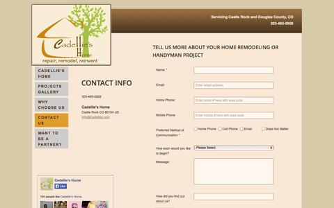 Screenshot of Privacy Page Contact Page cadellies.com - Cadellie's Home Improvements - Contact Us - captured Oct. 22, 2014