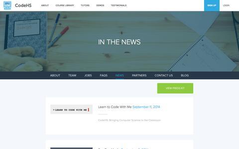Screenshot of Press Page codehs.com - News | CodeHS - captured Oct. 28, 2014