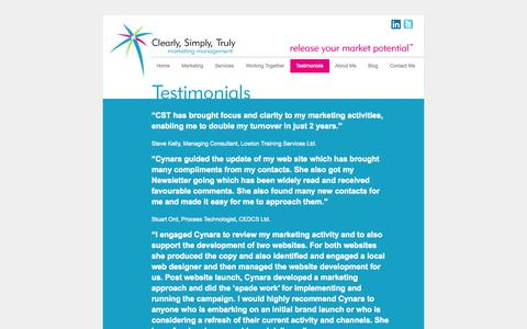 Screenshot of Testimonials Page releaseyourmarketpotential.com - Clearly Simply Truly - Testimonials | Clearly, Simply, Truly - captured Oct. 2, 2014