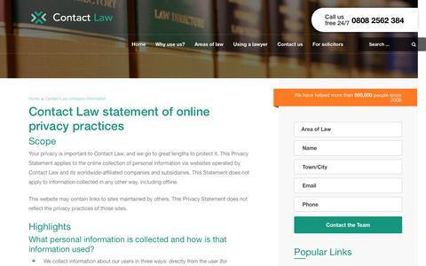 Screenshot of Privacy Page contactlaw.co.uk - Contact Law | Find a solicitor in the UK - captured March 13, 2017