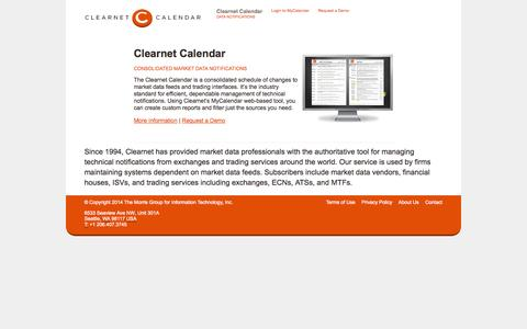 Screenshot of Home Page clearnetcalendar.com - Clearnet Calendar - captured Oct. 2, 2014