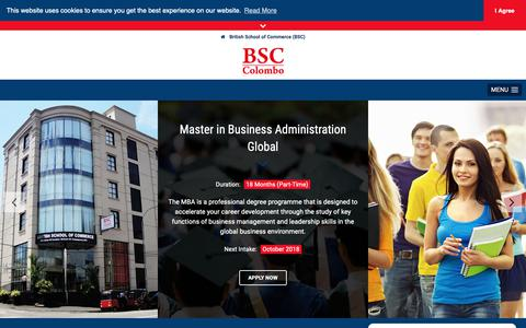 Screenshot of Home Page bsccolombo.edu.lk - British School of Commerce (BSC) • Home - captured Oct. 5, 2018