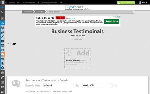 Screenshot of Testimonials Page yorkdirect.info - York, ON Testimonials   YorkDirect.info - captured Jan. 24, 2017