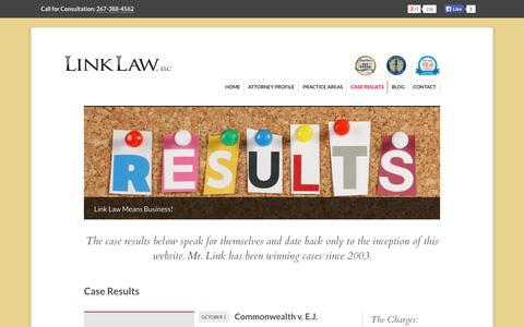Screenshot of Case Studies Page linklawphilly.com - Case Results - Link Law, LLC | Philadelphia, Pa - captured Oct. 2, 2014