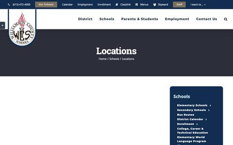 Screenshot of Locations Page wcs.edu - Locations | Williamson County Schools - captured Oct. 19, 2018