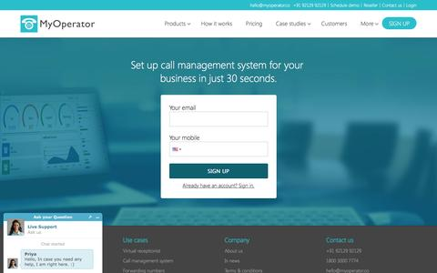 Screenshot of Signup Page myoperator.co - Sign up - MyOperator - captured March 21, 2017
