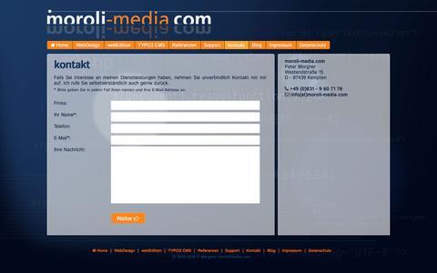 Screenshot of Contact Page moroli-media.com - Kontakt ■ moroli-media, Kempten - captured Aug. 13, 2016