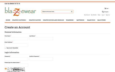 Screenshot of Signup Page blazewear.com - Create New Customer Account | blazewear UK - captured Sept. 30, 2014