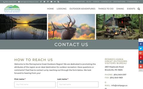 Screenshot of Contact Page visitpago.com - Contact Us   Visiting the PA Great Outdoors - captured Sept. 27, 2018