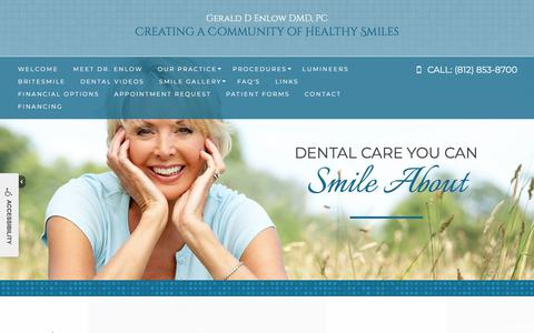 Screenshot of Home Page newburghfamilydentist.com - Newburgh Dentist | Dr Gerald Enlow | Family Dentistry | Newburgh IN 47630 - captured July 3, 2018