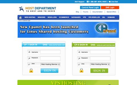 Screenshot of Login Page hostdepartment.com - Secure Customer Login - Host Department - captured Sept. 25, 2014