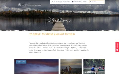Screenshot of Locations Page vobs.org - Locations | Voyageur Outward Bound School - captured July 18, 2017