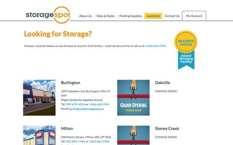 Screenshot of Locations Page storagespot.ca - Choose a Location | Storage Spot | Milton and Burlington Ontario - captured Nov. 4, 2014