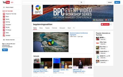 Screenshot of YouTube Page youtube.com - bayplanningcoalition  - YouTube - captured Oct. 23, 2014