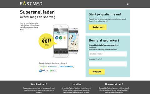 Screenshot of Login Page fastned.nl - Fastned Mobiel oplaad Systeem - captured Aug. 3, 2016