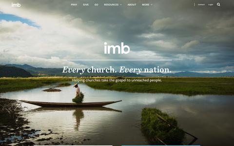 Screenshot of Home Page imb.org - IMB - International Mission Board - captured Feb. 22, 2019
