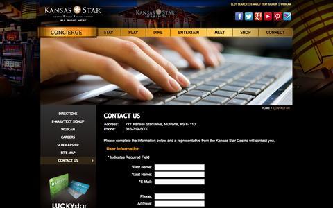 Screenshot of Contact Page kansasstarcasino.com - Contact The Kansas Star Casino   KansasStarCasino.com - captured Oct. 29, 2014