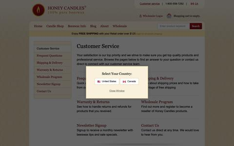 Screenshot of Support Page purebeeswaxcandles.com - Customer Service - captured Sept. 29, 2018