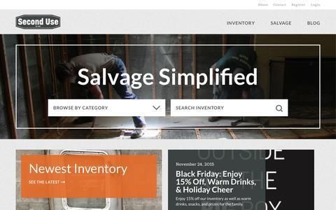 Screenshot of Home Page seconduse.com - Second Use - captured Dec. 2, 2015
