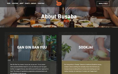Screenshot of About Page busaba.com - About Us | Busaba Bangkok Thai - captured Sept. 25, 2018