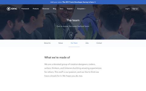 Screenshot of Team Page ionicframework.com - Ionic Framework - Team - captured April 10, 2017