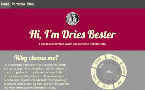 Screenshot of Home Page driesbester.com - Home - Dries Bester - captured Sept. 2, 2015