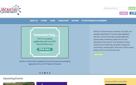 Screenshot of Home Page womeningovernment.org - Women In Government - captured Aug. 17, 2016