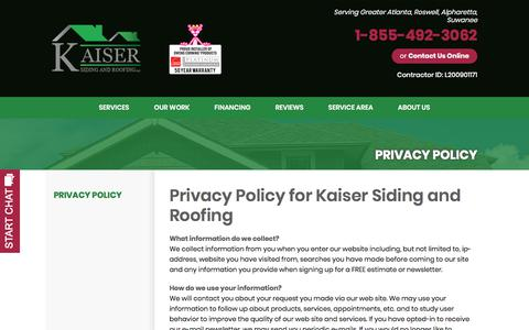 Screenshot of Privacy Page kaiserroof.com - Our Privacy Policy - captured Oct. 16, 2017