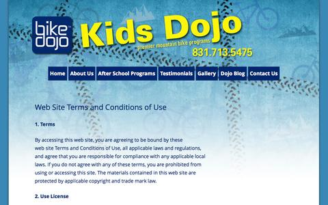 Screenshot of Terms Page thebikedojo.com - Terms of Service | Kids Dojo - captured Oct. 5, 2014