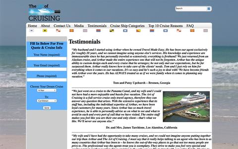 Screenshot of Testimonials Page artofcruising.com - Testimonials | Art of Cruising - captured Sept. 30, 2014