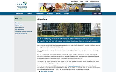 Screenshot of About Page sepa.org.uk - About us | Scottish Environment Protection Agency (SEPA) - captured June 28, 2017