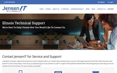 Screenshot of Support Page jensenit.com - Tech Support Services   Des Plaines, IL   JensenIT - captured Nov. 14, 2018