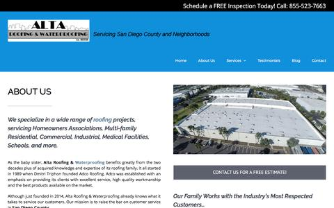 Screenshot of About Page altaroofinginc.com - About Alta Roofing And Waterproofing - San Diego, CA - captured Oct. 8, 2017