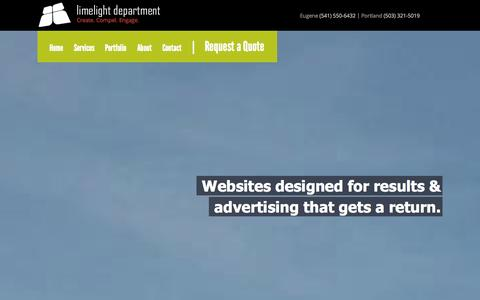 Screenshot of Home Page limelightdept.com - Eugene Web Design & Internet Marketing | Limelight Department - captured Oct. 3, 2014