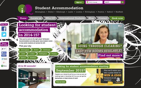 Screenshot of Home Page iq-student-accommodation.com - Student Accommodation in the UK from iQ - captured Sept. 23, 2014