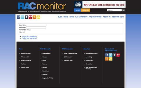 Screenshot of Login Page racmonitor.com - RACmonitor.com - captured Oct. 6, 2014