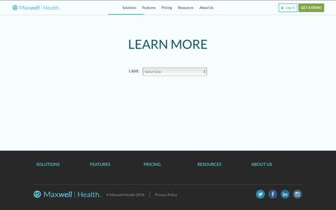 Screenshot of Signup Page maxwellhealth.com - Demo Sign Up | Maxwell Health - captured April 13, 2018