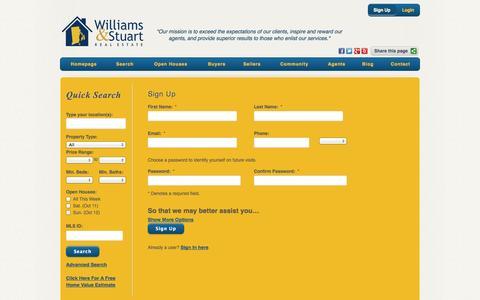 Screenshot of Signup Page williamsandstuart.com - Sign Up - captured Oct. 7, 2014