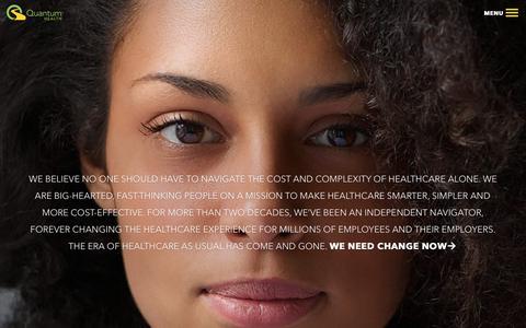 Screenshot of Home Page quantum-health.com - Quantum Health | Healthcare Needs an Intervention™ - captured Jan. 21, 2020