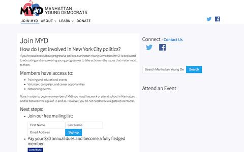 Screenshot of Signup Page gomyd.com - Join MYD | Manhattan Young Democrats - captured Sept. 30, 2017