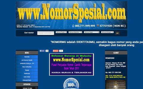 Screenshot of Home Page nomorspesial.com - Nomor Cantik | Nomer Cantik | Nomor Perdana Cantik | Nomor Hp Cantik | Jual Nomor Cantik - captured Sept. 19, 2015