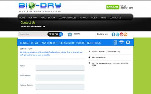 Screenshot of Contact Page bio-dry.com - Contact Us Bio-Dry - captured Oct. 5, 2014